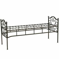 Our wrought iron bench in classic black is the perfect accessory to our Scroll Headboards, but brings a vintage French vibe wherever you decide to place it. Beautifully accommodates our tufted Natural Bench Cushion, sold separately.