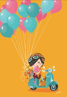 Balloons and Gelato! Italy travel Illustration by Lon Lee