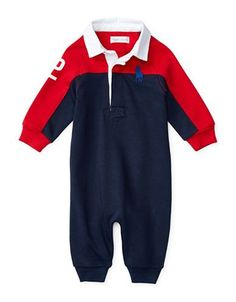 Ralph Lauren Childrenswear Baby Boys   Colorblock Coverall  Cruise Red