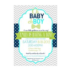 Personalized Navy Aqua Lime Green and Gray Little Man Baby Shower Invitations for Baby Boys by HeadsUpGirls