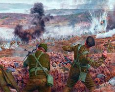 Battle of Imjin River, Korean War- by Steve Noon Military Photos, Military Art, Military History, Military Drawings, Ww2 History, British Soldier, Alternate History, Military Diorama, Korean War