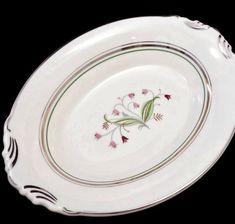 Vintage Syracuse China Oval Dish - Mid Century Coralbel Pattern, Dinnerware Serving Dish, Platinum Pin Striping