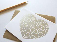 Nautical Valentine's Day card in metallic silver ink, handmade Sky Design, Wedding Logos, Silk Screen Printing, Creative Ideas, Nautical, Valentines Day, Greeting Cards, Metallic, Ink