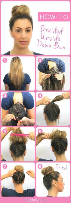 """Beauty How-To: Upside Down Braided Bun - If you know how to French braid your hair, than here is a neat way for you to get creative and turn that bun upside down. The simple eight step directions can guide you into an attractive style that will surely get people asking, """"How did you do that?"""". by julianne"""