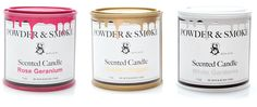 Powder & Smoke Candles by DL & Co. They look like little paint buckets!!!!! I love it!!!!! I wonder if the candles are the exact same colors as the paint on the exterior? Such a simple idea and accents but so beautiful.