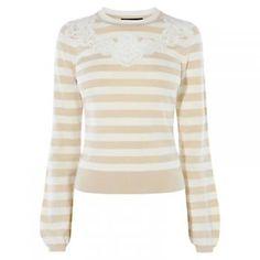 71% off - Now: £28.00 - Karen Millen Stripe Lace Detail Jumper, Neutral -…