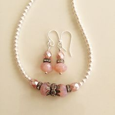 Pink Vintage Clouds - pretty shades of pink beads, antique silver vintage findings, and white pearls by MadeByJimmisDaughter on Etsy