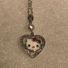 Hello Kitty Sanrio Heart Necklace Pendant S925 Sterling Silver   | eBay