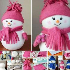 Wonderful DIY Easiest Snowman from Styrofoam ball