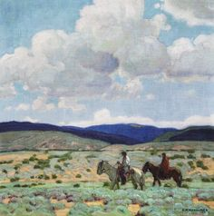 """ERNEST MARTIN HENNINGS In The Foothills Oil on Canvas 14"""" x 13.875"""""""