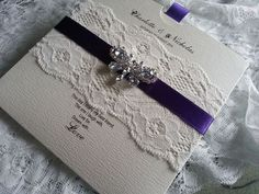 Lace and Butterfly wedding invitation