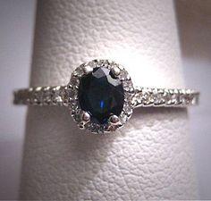 Vintage Sapphire Diamond Wedding Ring Art Deco Estate on Etsy, $985.00