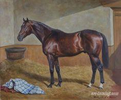 Portrait of a Thoroughbred stallion Nearko. Horse painting by Kolobaev Yaroslav