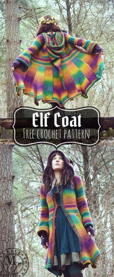Elf Coat - Wow! - free Tunisian crochet pattern by Regina Weiss at Morale Fiber Blog. Crochet Saco, Crochet Coat, Crochet Cardigan, Cute Crochet, Crochet Scarves, Beautiful Crochet, Crochet Clothes, Crochet Jacket Pattern, Crochet Sweaters