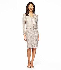 Alex Evenings Petite Shimmer Lace Jacket Dress #Dillards