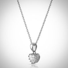"""""""Beautiful heart shaped simple CZ necklace with amazing details. Hand made and elegant. $29.95 Item Code P20560."""""""