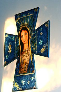 Our Lady of Guadalupe  Huge Wall Cross  Mixed Media by FlorLarios, $95.00
