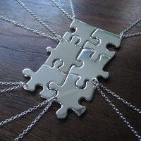 No one gets left out. Get real puzzles pieces and use mod podge and pretty paper or spray paint chrome. Diy friendship necklace. Genius!