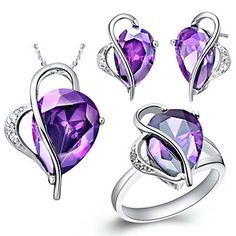 Fashion Silver-Plated Cubic Zirconia Irregular Drop Women's Jewelry Set(Necklace,Earrings,Ring)(Red,Purple)