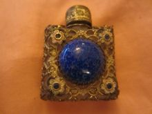Miniature Czech  Filagree Rhinestone Perfume Bottle faux Lapis stone center