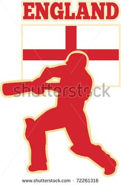 vector illustration of silhouette of cricket batsman batting front view with flag of England - stock vector