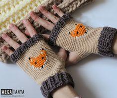 MEGA-tanya crochet mittens, hand warmer, митенки крючком