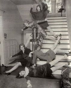 Retronaut - Girls having fun on stairs, 1920s....or the stairs at Nichols Libaray!!!
