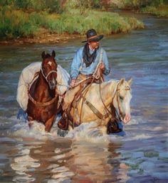 Jason Rich the cowboy artist. 🌻 For more great pins go to Pin Ups Vintage, Cowboy Artwork, Cowboy Horse, Berber, West Art, Clydesdale, Le Far West, Mountain Man, Equine Art