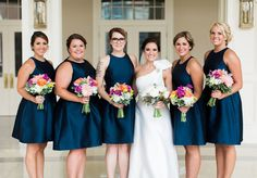 Navy Blue Alfred Sung Bridesmaid Dresses. Bright bouquets, Peonies Bridal Bouquet.