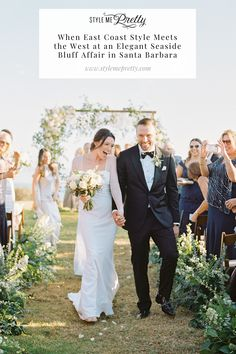 This couple shared their vows on a cliff overlooking the ocean…trust us when we say you HAVE to read about the rest of this romantic barn wedding! With the laid-back nature of the venue, the bride and groom decided on a black tie affair. 🖤 The whole day was blended with their New York and California roots including 'east coast and 'west coast signature cocktails! 🍹 Head to SMP for all the pretty details!  LBB Photography: @nataliebrayphoto  #rusticwedding #ranchwedding #seasidewedding… Vintage Wedding Theme, Seaside Wedding, Rustic Wedding, Wedding Ideas, East Coast Style, Signature Cocktail, Santa Barbara, Cliff, Black Tie