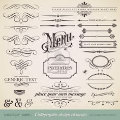 vector set: calligraphic design elements and page decoration - lots of useful elements to embellish your layout  免權利金圖像