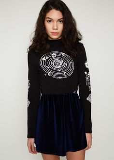Space queen. Black and white cosmos cropped long sleeve shirt with space graphics. Pair it with our Cresent Moon Patch. - Long sleeve crop top - White cosmic girl space graphics on sleeve and chest -