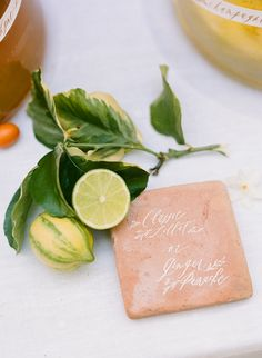 Photography : Rebecca Yale Photography | Calligraphy : Written Word Calligraphy Read More on SMP: http://www.stylemepretty.com/2015/08/27/fashion-to-table-citrus-inspired-wedding-details-with-late-afternoon/