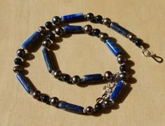 Lapis Blue Goldstone and Pearl Necklace by Isadoramoondesigns, $25.00