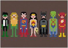 Justice League Pixel People Cross-stitch