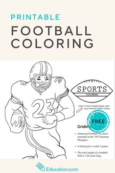 Take a coloring timeout with your child and enjoy this free football coloring page, full of fun facts to read as you color. Back To School Activities, Fun Activities, Football Coloring Pages, Printable Worksheets, Printables, My Favourite Teacher, Teacher Freebies, Free Football, Cool Coloring Pages