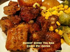 Smokin' Sweet Tea Ribs Crock Pot DInner - Great for pork or beef ribs, chicken drumsticks etc. Smells really good when it's cooking too!