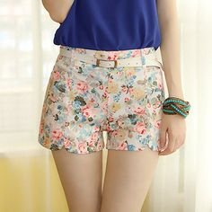 $6.76 Stylish Jag Design High-Waisted Floral Print Slim Fit Shorts For Women