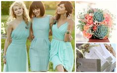{Mint, Coral + Gold} Bridesmaid's Style by Nina Renee Designs, via Flickr