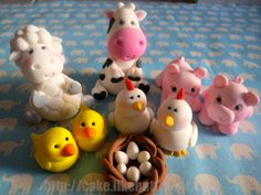 Adorable Farm Animal Cake Toppers by LikeButter