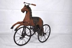 This item, Antique Horse Tricycle , is part of the auction: Stamford (Connecticut, USA) Downsizing Online Auction - Brown House Rd (Storage). Antique Rocking Horse, Rocking Horses, Tricycle, Antique Nursery, Victorian Toys, Horse Hair Jewelry, Equestrian Decor, Wooden Horse, Tin Toys
