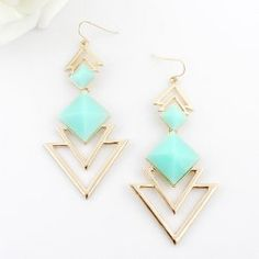 Women's Square Faux Gem Triangle Drop Earrings