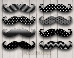 Mustache Party Digital Clip Art for photobooth props, printables, invitations, and more. INSTANT DOWNLOAD