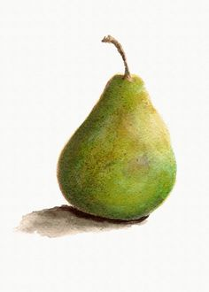 Green Pear Print from Original Watercolor Kitchen por wrensroost