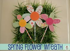 Spring flower wreath made with Elmers glue Crafts For Teens To Make, Spring Crafts For Kids, Spring Projects, Crafts To Sell, Fun Crafts, Diy And Crafts, Craft Projects, Craft Ideas, Daycare Crafts