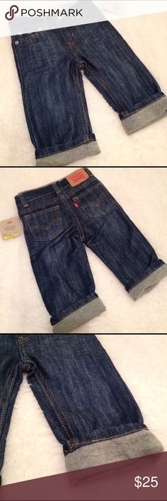 Little Boys Jeans Little Boys Levi's have a pull-up waistband in a soft grey knit. Matching fabric at hem of pant legs! So cute! NWT, never worn Levi's Bottoms Jeans