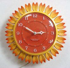 Reloj de la cocina del girasol de 1960
