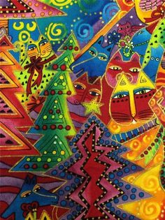 Laurel Burch Holiday Collection Fabric by Clothworks 1 2/3 Yards 44 Wide 0531M