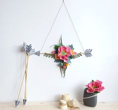 Felt flower arrow, floral arrow mobile, boho arrow wall hanging, arrow wall art, tribal flower nursery, floral nursery decor, bridal shower