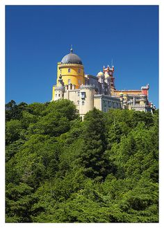 Palácio Nacional da Pena. This 19th century castle, straight out of fairy tales, sits at the hill top in Sintra, PORTUGAL